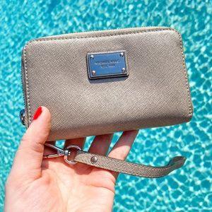 Michael Kors Long Pearl Gray Travel Wallet